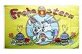Fahne / Flagge Frohe Ostern Hasen und Eier + gratis Sticker, Flaggenfritze®