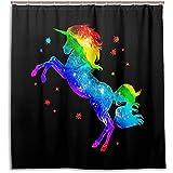 chillChur-DD Shower Curtain Set Tende da doccia Arcobaleno Stella Unicorno Animale Impermeabile Tenda da bagno Bagno Decorazioni per la casa, 168X183 Cm (66X72 In) con 12 ganci