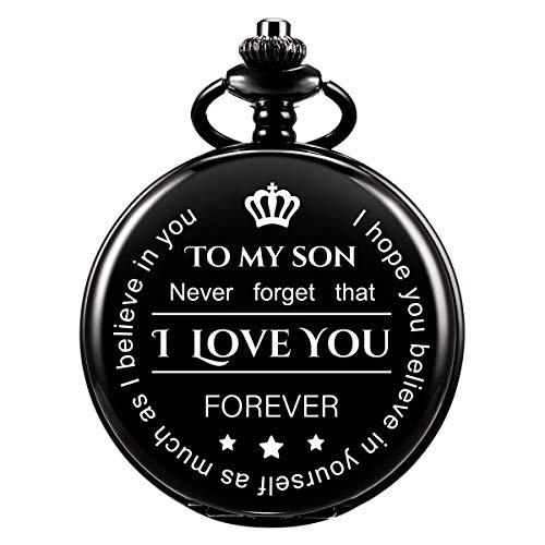 Gravierte Taschenuhr - Vergessen Sie nie, ich liebe dich, für immer - von einem Vater / Mutter zu einem Sohn Geschenk, Vintage klassische Quarz Taschenuhr mit Kette für Männer Frauen (Gun-black)