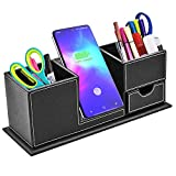TKDY Fast Wireless Charger Desk Organizer, Qi Charging Station Dock Stand Pen Holder for iPhone 11/ Xs MAX/XR/XS/X/ 8, Samsung S20/S20+/ S10/ Note 10/ Note 9 (No AC Adapter)