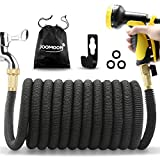 """75ft Expandable Garden Hose 10 Function Nozzle Lightweight Flexible Water Hose 75 ft 3750D Triple Extentions Latex Core 3/4"""" Solid Brass Fittings for Watering and Cleaning"""