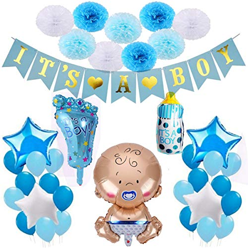 Decoraciones Fiesta de Bienvenida de Bebe Niño. Bandera Es Un Chico It's a Boy + Globo de Papel de Aluminio a Recien Nacido + 9 Pompones + 20 Globos. Accessorios Baby Shower