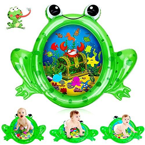 Alfombra Inflable Agua para Bebé, Forma de Rana Cojín Agua Inflable para Bebé, Alfombra de Juego Inflable Sensorial, Bebé Playmats Juguete de Agua PVC Grueso
