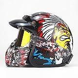 Casco Moto 3/4, Retro Harley Casco Moto Estivo Mezzo Casco/Adulto/Gioventù/Uomo/Donna - Certificazione ECE/DOT,Indian,M