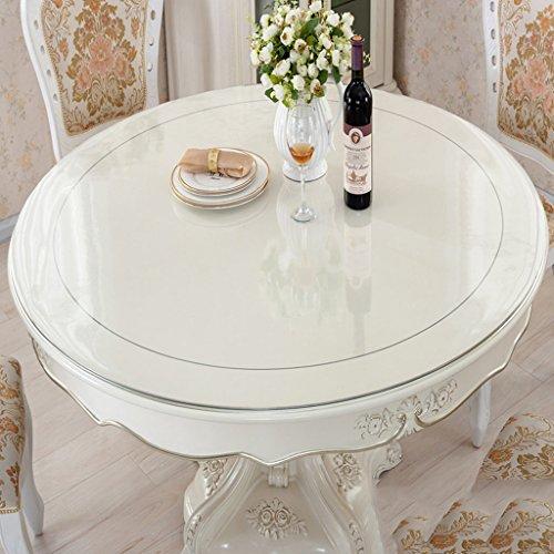 LYM Nappe à la Maison Nappe Ronde en PVC Transparent, Tableaux en Verre Souple Tissu à Table imperméable en Cristal à Table de Table en Tissu 1MM (Couleur : Transparent1.0mm, Taille : Round-180cm)