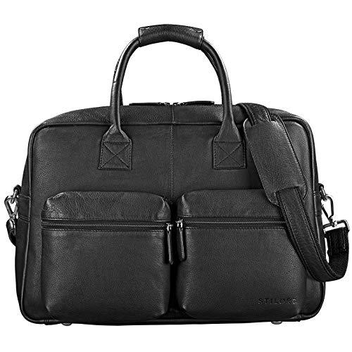 STILORD \'Ben\' Vintage Businesstasche Leder groß Unisex Umhängetasche 15,6 Zoll Laptop College Bag Aktentasche Uni echtes Rindsleder, Farbe:schwarz