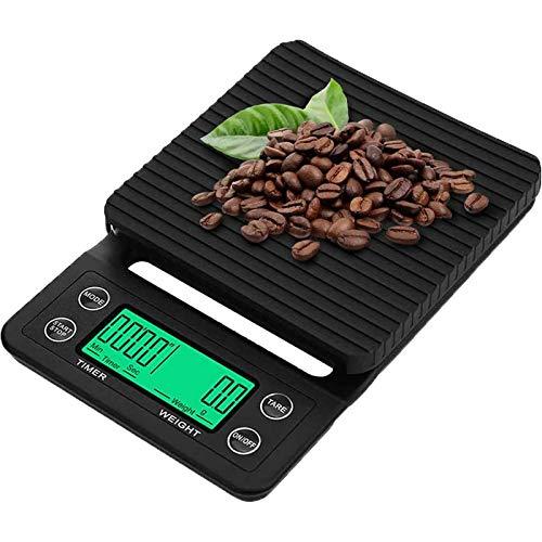 Lingyun Básculas Digitales para Café con Temporizador y Pantalla LCD, Balanza Electrónica Digital para Cocina (0.1-3kg, Incluye dos baterías AAA)
