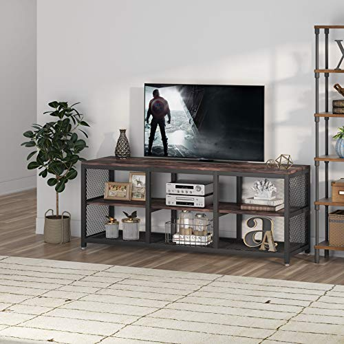 """Tribesigns TV Stand TV Console Media Stand Television Stands Entertainment Center 55.11"""" TV Cabinet with Open Storage Shelves Industrial 3-Tier Media Console Table for Living Room"""