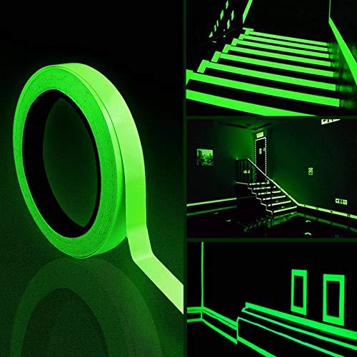 Fluoreszierendes Klebeband 2 Stück Leuchtendes Klebeband 10m x 10mm Warnband Selbstklebend Nachleuchtend Markierungsband Luminous Tape Wasserdicht