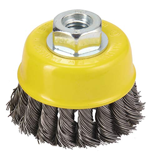HOYIN Wire Cup Brush-Knotted Cup Brush for Grinders,5/8inch-11NC,0.020inch-by-3inch