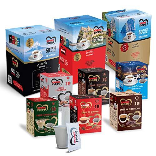 Cuore Nero Caffè – Kit Assaggio 210 Cialde ESE44 – Degustazione Caffè Miscela Procida, Ischia, Capri + Caffè Aromatizzati al Ginseng, Nocciola, Cioccolato, Irish Cream, Sambuca + Deca + Accessori