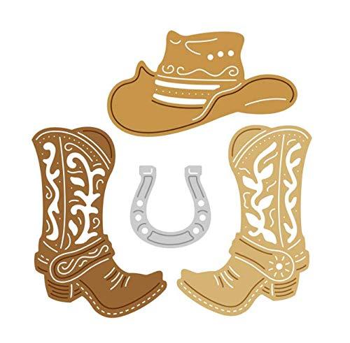 DHLZ Cowboyhut Stiefel Metall Stanzformen Scrapbooking Handwerk Gestanzte Hufeisen Schuh Hut Papier Karte Schablone
