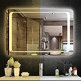 QHGao Espejo De Baño con Pantalla Táctil Inteligente, Luz De Dos Colores (Toque De Cuatro Puntos Más Tiempo/Temperatura Más Antivaho Más Bluetooth), Montado En La Pared,70 * 90cm