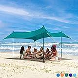 Bessport Tenda da spiaggia   Anti-UV UPF 50+   3 x 3 M Tendalino da spiaggia con 4 sacchi ...