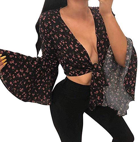 Willlly Floral Señoras De La Manga Casual Chic Body Blusa Larga con Cuello En V Camisa De La Gasa del Vendaje De Cultivos Tops Camiseta De La Gasa Las Porciones Blandas Ropa Cómoda Mono Tops