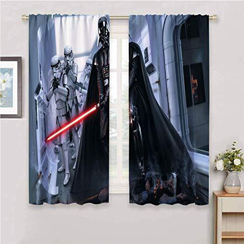 Zmcongz Aislamiento para todas las estaciones Darth Vader Star Wars Stormtrooper W63 x L72 pulgadas 2 paneles conjuntos de barra de bolsillo curtian