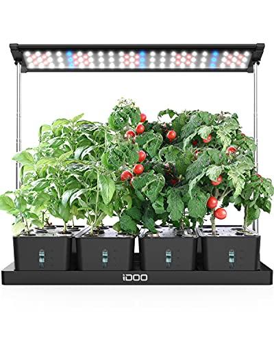 iDOO Indoor Kräutergarten Kit, 20Pods Hydroponische Anzuchtsystem mit LED Pflanzenlampe, 68cm Einstellbare Höhe, Freie Timing-Einstellung, Indoor Garden Kit mit 4 Stück Abnehmbarer Wassertanks