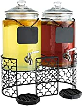 Dual 1.5 Gallon Glass Beverage Dispensers with Decorative Metal Stand, Stainless Steel Spigot, Drips Trays and Hanging Chalkboard Signs - Double Drink Dispenser Station for Parties, Weddings, Holidays