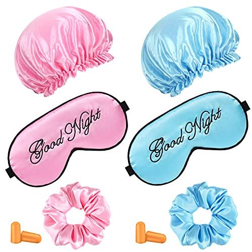 6 Stücke Seiden Schlafmasken Set 2 Niedliche Lustige Weiche Seiden Augenschutz Abdeckungen, 2 Seide Gefüttert Schlafkappe Kräuselig Haar Mütze, 2 Paare Ohrstöpsel (Rosa, Blau)