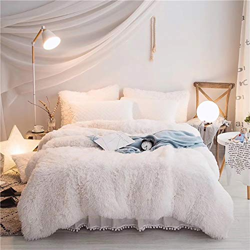 Duvet Cover Set King Size, Winter Bedding Sets King Size Single Pink Shaggy Flannel 4 Pc Duvet Cover Set(1duvet + 2 Pillowcases 1 Quilted Fitted Bed Sheet 3 Side Coverage Ruffle Skirt)