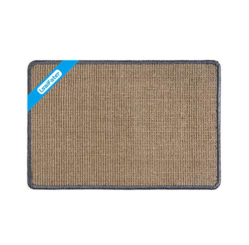 LsaiFater Cat Scratching Mat, Natural Sisal Cat Scratching Mat, Protect Carpets and Sofas (14.9x23.6 inch, Grey)