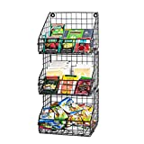 X-cosrack 3 Tier Stackable Tea Bag Organizer with 5 Hooks Metal Wire Basket Coffee Condiment Snack Rack Holder Countertop Caddy Bin Wall Mount Shelf for Office Kitchen Cabinet Pantry Patent Pending