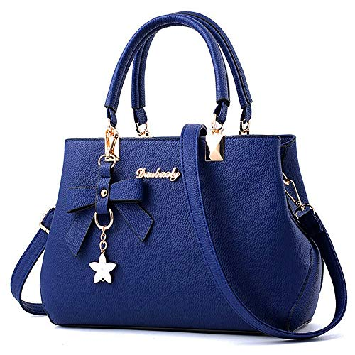 BestoU Damen Handtasche Leder Tasche Shopper Damen Handtaschen Schule Schultertaschen Geldbörsen (Blau)