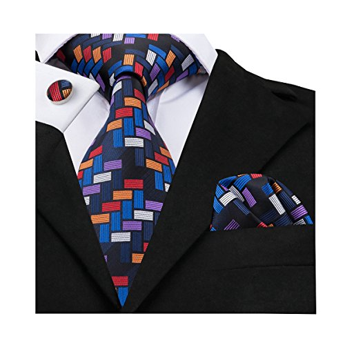 Barry.Wang - Juego de gemelos cuadrados de seda y bolsillo para hombre