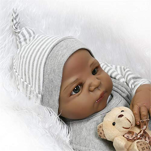 Lullaby 23 Inch Biracial Reborn Baby Dolls Boy Silicone Full Body African American Realistic Black Reborn Toddler Best Birthday/Xmas Gifts