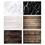 Allenjoy 3pcs 46x34.2in Double Sided Photography Background 2 in 1 Black White Wood Marble Texture Pattern...