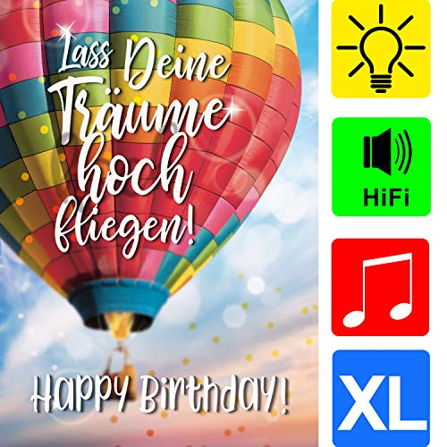 bentino Geburtstagskarte XL mit Musik und LICHT-Effekt, DIN A4 Set mit Umschlag, romantische Glückwunschkarte aus hochwertigem Papier, Musik in toller HiFi Qualität, hochwertige Grußkarte