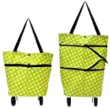 SiriusStar Hub Travelling | Shopping | Vegetable | Grocery | Foldable Trolley Luggage Bag with Multi Design with Wheels (Multicolour)