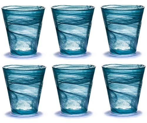 Pami Bicchieri Acqua Colorati Vetro, Bicchieri Vino, Bicchieri Colorati, Bicchieri Cocktail, Bicchieri Aperitivo, Bicchieri Vetro, Set 6 Tumbler Alabaster (Ottanio)
