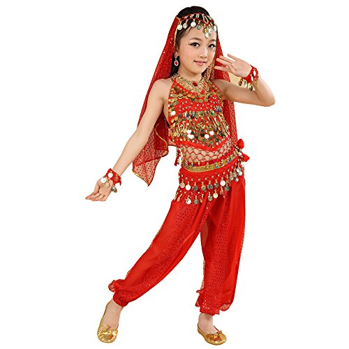 BOZEVON Danza del Vientre de Las Muchachas Traje de Danza India, Danza étnica Disfraz, Tops + Pantalones + Cadenas de Cintura + 2 Pulseras + Velo (Rojo,EU M = Tag L)