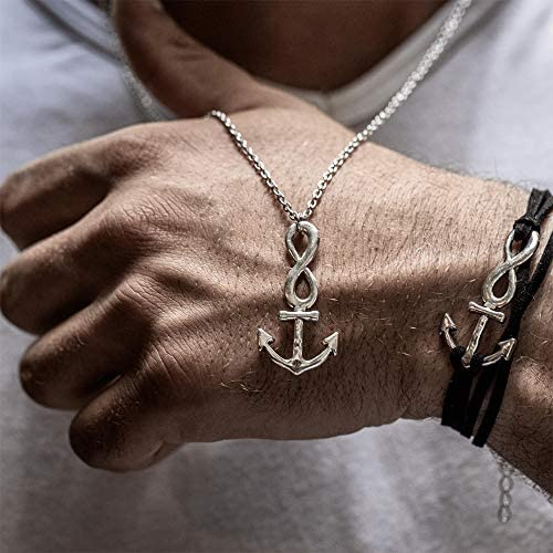 Men s Silver Infinity Anchor Necklace Stainless Steel Pendant Chain 24 26 Inch Adjustable Gift product image
