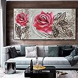 Arte de pared sobre lienzo Pintura Arte nórdico Flor Reina Mural para sala de estar Carteles e impresiones Decoración para el hogar Ilustraciones Imágenes 35X70cm (13.8x27.6in) Sin marco