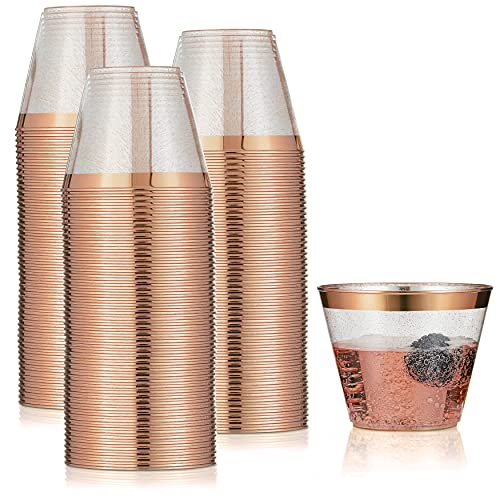 100 Rose Gold Cups 9oz - Rose Gold Glitter with a Rose Gold Rim - Premium Disposable Party Cups - Elegant and Classy Sturdy Cups for Weddings Birthdays Anniversaries and Other Social Events