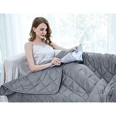 ZZZhen Weighted Premium Cotton Gravity Blanket-Multiple Sizes Adlut Kids. Great Sleeping, Insomnia, Anixiety, Stress, Add, ADHD, 60''80'' -15LB, Grey