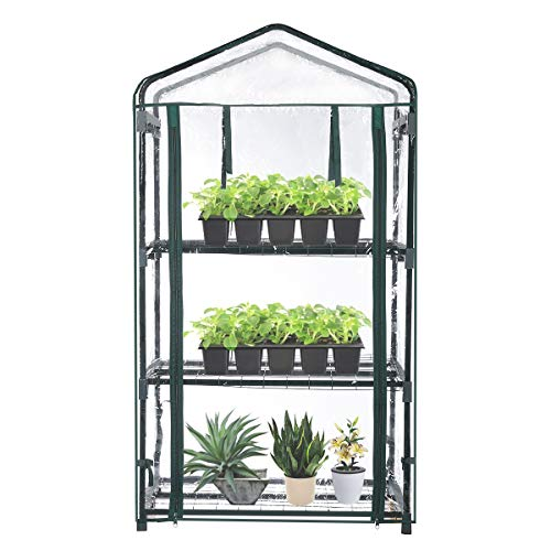 "TOOCA Mini Greenhouse 3-Tier 27"" X19"" X 50"" Portable Plant Greenhouse for Indoor Outdoor Gardens/Patios/Backyards, Small Garden for Kids"
