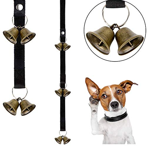 STKJ huisdier deurbel touw koper bel hond uit alarm, hond training deur klokken, verstelbare puppy potje deurbellen (2 st)