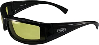 Global Vision Stray Cat Motorcycle Glasses (Black Frame/ Yellow Lens)