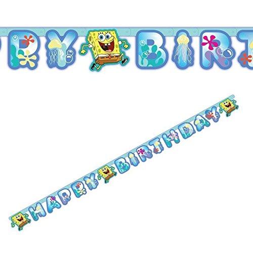 Takestop® slinger van papier, Happy Birthday, Spongebob, nikkelelodeon, 1,8 m, slinger voor verjaardag, feest
