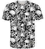 Goodstoworld Cráneo T-Shirt Colorido Impreso Camisetas Verano Personalizado Cuello Redondo Camiseta Tops para Hombre XL para Mujer