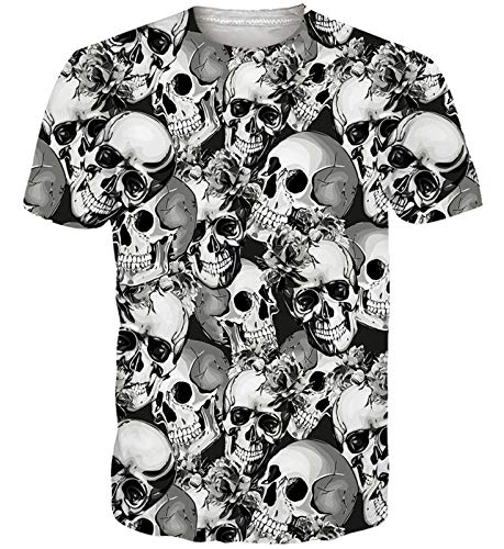 Goodstoworld Hombres Mujeres Camiseta de Cráneo T-Shirt Imprimir Divertido Verano Personalizado Casual Camiseta de Manga Corta Tops XXL