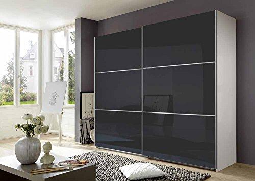lifestyle4living Schwebetürenschrank in Alpin-Weiß und grauen Glasfronten, 6 Einlegeböden, 3 Kleiderstangen, Maße: B/H/T ca. 250/236/65 cm