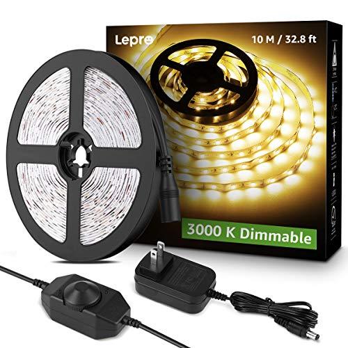 Lepro LED Strip Light, 32.8Ft Dimmable Vanity Lights, 3000K Super Bright LED Tape Lights, 600 LEDs SMD 2835, Strong 3M Adhesive, Suitable for Home, Kitchen, Under Cabinet, Bedroom, Warm White