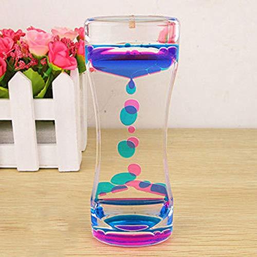 quanjucheer - Clessidra a olio con movimento liquido, bicolore, decorazione da scrivania per ufficio Purple