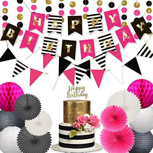 Birthday Decorations for Women and Girls Party Supplies Set | Hot Pink Gold Black White Happy Birthday | Kate Spade Inspired | Banner Garland Bunting | Paper Lanterns | Honeycomb Balls | Tissue Fans|