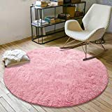 YOH Fluffy Soft Round Area Rugs for Kids Girls Room Princess Castle Plush Shaggy Carpet Cute Circle Furry Nursery Rug for Teen's Bedroom Living Room Home Decor Floor Carpet 4'x4' Baby Pink
