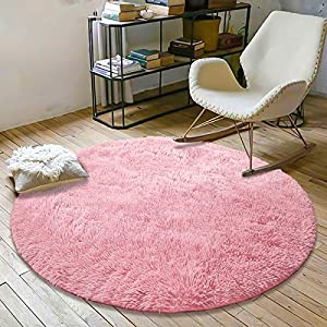 crib bedding and baby bedding yoh fluffy soft round area rugs for kids girls room princess castle plush shaggy carpet cute circle furry nursery rug for teen's bedroom living room home decor floor carpet 4'x4' baby pink